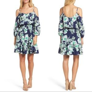 Eliza J Navy Green Floral Cold Shoulder Dress